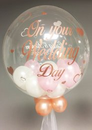 Personalised Rose Gold Wedding Balloon Filled Bubble Balloon