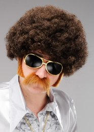 Mens 70s Disco Funky Brown Afro Wig