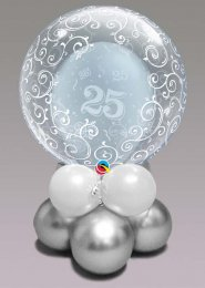 Inflated Silver 25th Anniversary Bubble Balloon Centrepiece