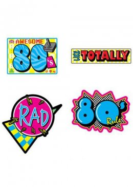 Awesome 80s Cutouts Party Decorations Pk4