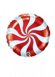 Red and White Candy Swirl Mini Air Filled Balloon on Stick