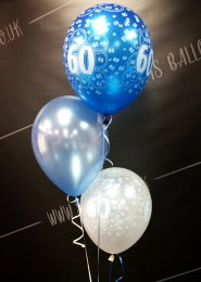 Blue 60th Birthday 3 Balloon Cluster