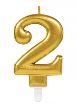 Gold Number 2 Birthday Cake Candle
