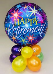 Purple Happy Retirement Inflated Balloon Centrepiece