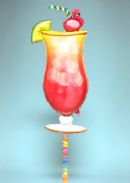 Inflated Hawaiian Pink Tropical Cocktail With Hula Flower Tail