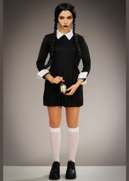 Womens Petite Halloween Wednesday Style Costume