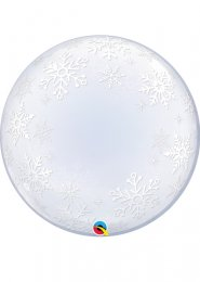 Inflated Frosty Snowflakes Clear Deco Bubble Helium Balloon