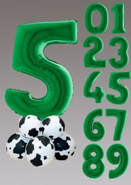 Inflated Large Green Number Cow Print Farm Balloon Centrepiece