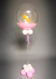 Pink Unicorn Feather Filled Deco Bubble Balloon