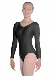 Black Martene Long Sleeve Dance Leotard
