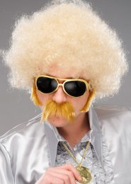 Mens 1970s Disco Blonde Frizzy Afro Wig