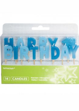 Blue Happy 1st Birthday Candle Set