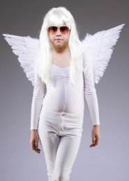 Girls White Feather Fancy Dress Angel Wings