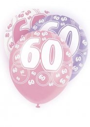 Pink Glitz 60th Birthday Party Balloons Pack 6