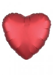 Inflated Red Sangria Satin Luxe Heart Helium Balloon