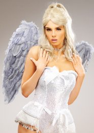 Womens Gorgeous Grey Feather Angel Wings