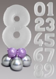 White and Lilac Large Number Balloon Centrepiece