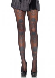 Womens Halloween Gothic Glitter Skull Tights