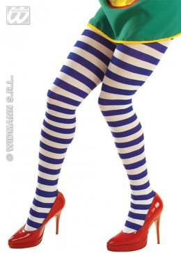Womens Blue and White Striped Tights