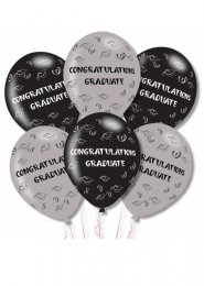 Black and Silver Congratulations Graduate Balloons Pk6