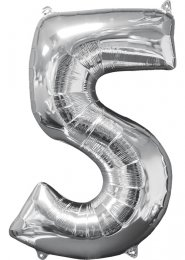Inflated Mid-Size Silver Number 5 Helium Balloon on Weight
