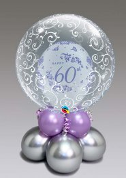 Inflated Diamond 60th Anniversary Bubble Balloon Centrepiece