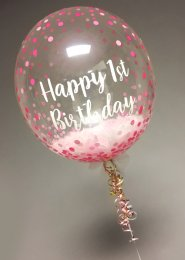 Pink Personalied Feather Filled Deco Bubble Balloon