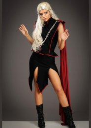 Womens Deluxe Black Mother of Dragons Style Costume