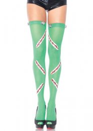 Womens Halloween Green Frankenstein Thigh Highs Stockings