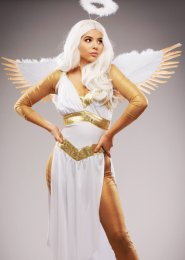 White and Gold Feather Angel Wings
