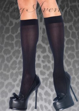 Adult Womens Black Knee High Schoolgirl Socks