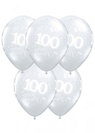 Diamond Clear 100th Birthday Party Balloons Pack 5