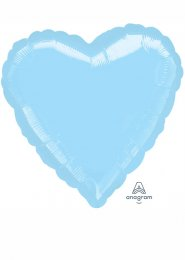 Inflated Pearl Pastel Blue Heart Helium Balloon