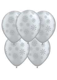 Silver Glitter Snowflake Party Balloons Pack 5