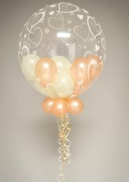 Rose Gold & Ivory Multi Balloon Filled Wedding Bubble Balloon