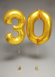 Metallic Gold 30th Birthday Number Balloon Set