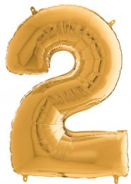 Inflated Mid-Size Gold Number 2 Helium Balloon on Weight