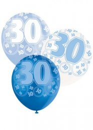 Blue Glitz 30th Birthday Party Balloons Pack 6