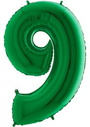 Large Green Number 9 Inflated Helium Balloon on Weight