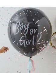 Inflated Black Gender Reveal Girl Balloon with Pink Confetti