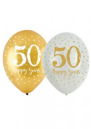 Gold 50th Anniversary Latex Party Balloons Pk6