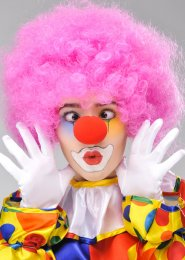 Circus Clown Pink Curly Pop Wig