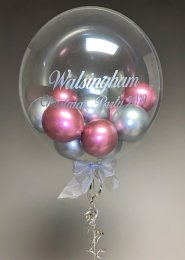 Personalised Chrome Mauve and Silver Helium Bubble Balloon