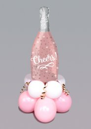Inflated Pink Cheers Bottle Mini Shape Balloon Centrepiece