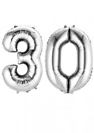 Large Silver 30th Birthday Large Number Balloons on Weights
