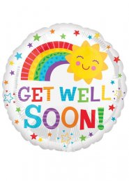 Inflated Happy Sun Get Well Soon Helium Balloon