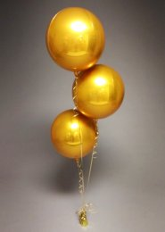 Inflated 3 Gold Orbz Balloon Foil Cluster