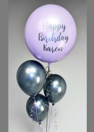 Personalised Grey and Lilac Orbz Helium Balloon Cluster