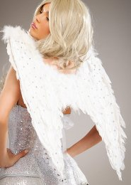 Medium Diamante Sparkle White Feather Angel Wings