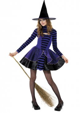 Teen Size Purple Striped Halloween Witch Costume